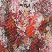 peinture sur toile avec textures couleurs dominantes rouge argent or représente réflexion